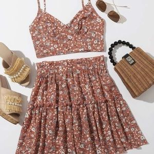 Ruched Bust Floral Cami Top & Frill Trim Skirt Set